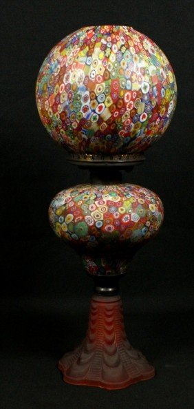 Millefiori Oil Lamp W/ Ball Shade, Red Satin Base,