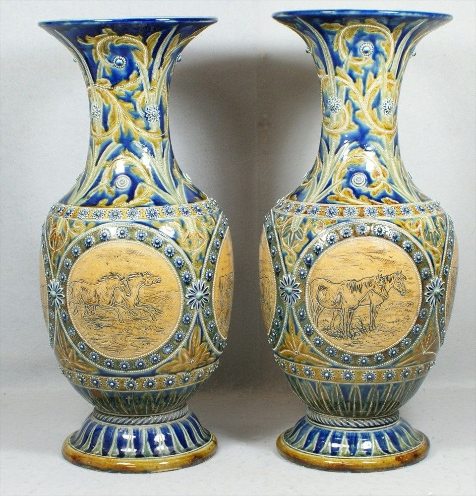 Pr monumental Doulton Lambeth vases by Hannah Barl