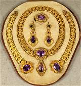 24: 6 pc 18K YG & amethyst Victorian jewelry ensemble