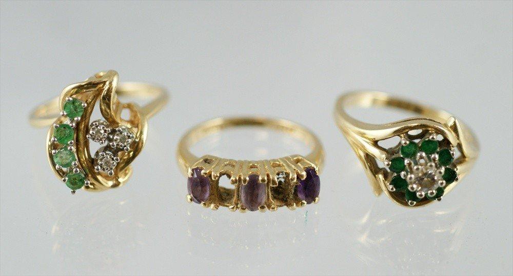 9: (3) 14K YG rings, 2/diamonds & green stones, amethys