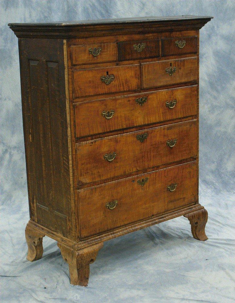 146: Figured maple Chester County semi tall chest, 3 ov