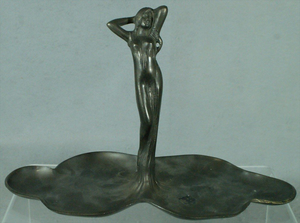 150: Pewter art nouveau figural tray, unmarked, early-m