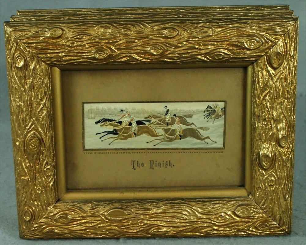 152: (3) woven silk Stevensgraphs, The Start, Full Cry,