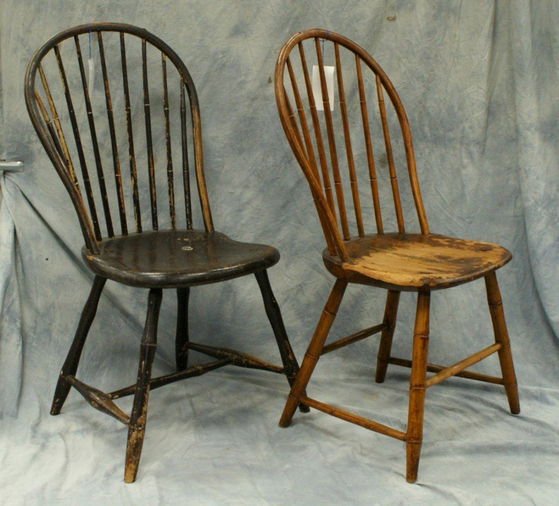 146B: (2) bowback Windsor chairs, one 7-spindle, one 9-