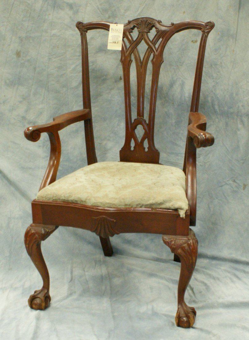146F: Carved mahogany Chippendale style armchair with s