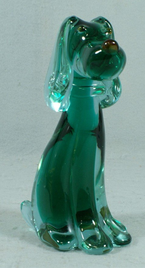 "155: Green Murano glass seated dog figurine, 9"" tall"