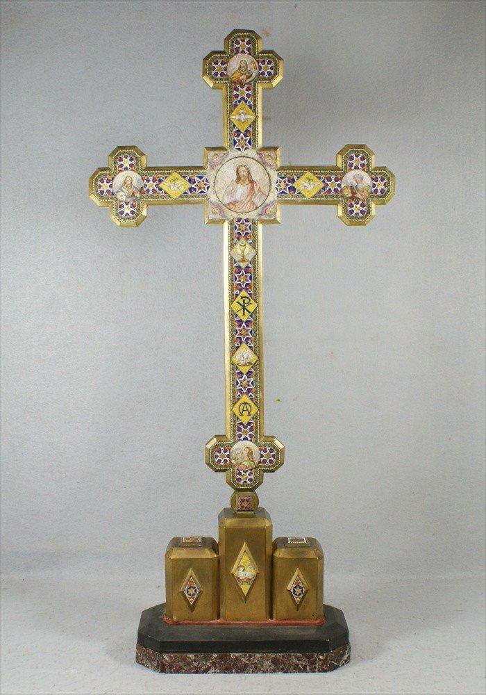 156: Micromosiac inlaid Byzantine Revival bronze cross,