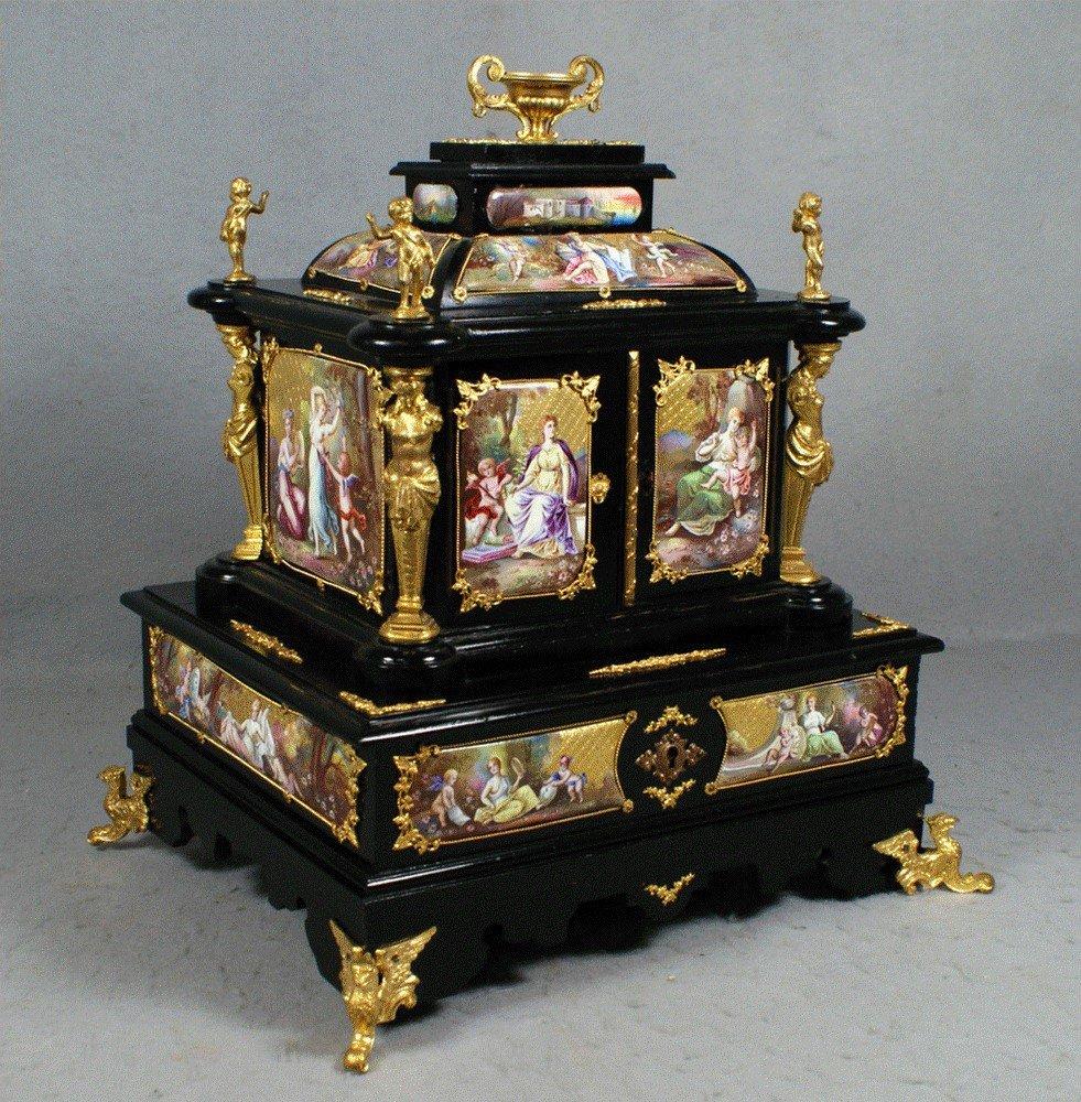 150A: Ebonized jewelry casket mounted with enameled pan