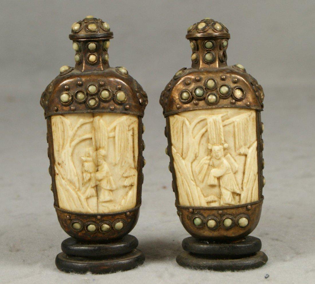 10108A: 2 Tibetan snuff bottles, with bone panels, meta