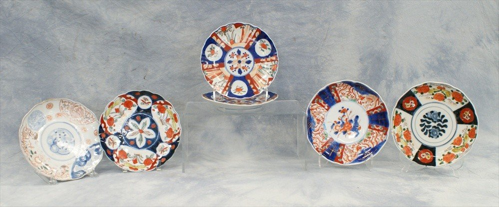 10001: (6) Assorted Japanese Imari plates, 19th-20th C,