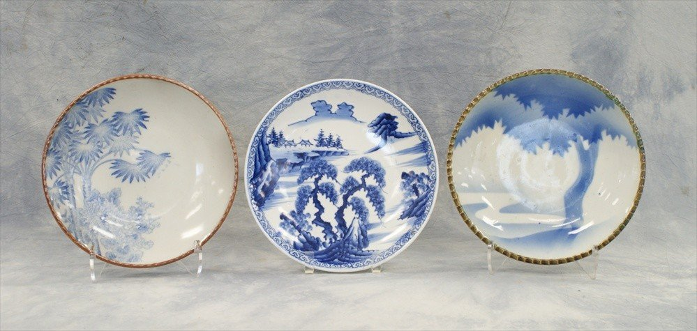 10003: (3) Assorted Japanese blue & white plates, 20th