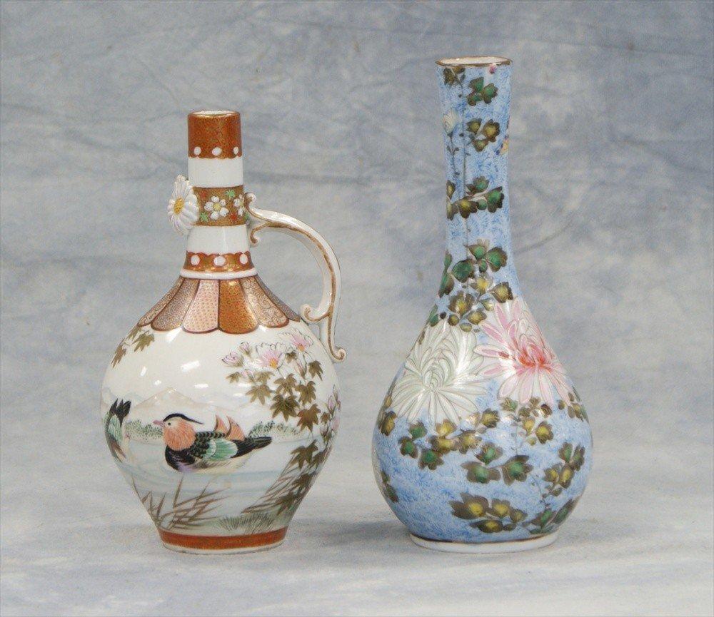 10009: (2) Japanese Kutani vases, 19th C, tallest 6 3/4
