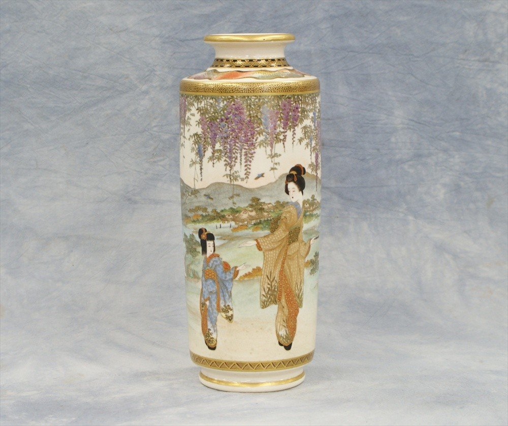 """10014: Japanese Satsuma vase, 19th C, 9 5/8"""" tall"""