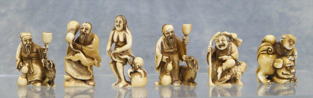 10022: (6) Assorted Japanese carved ivory netsuke, 20th