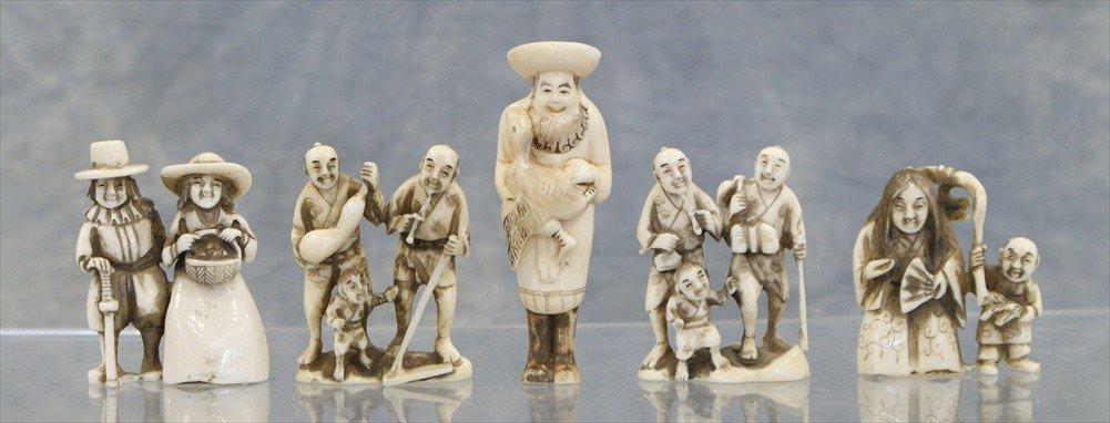 10023: (5) Assorted Japanese carved ivory netsuke, 20th
