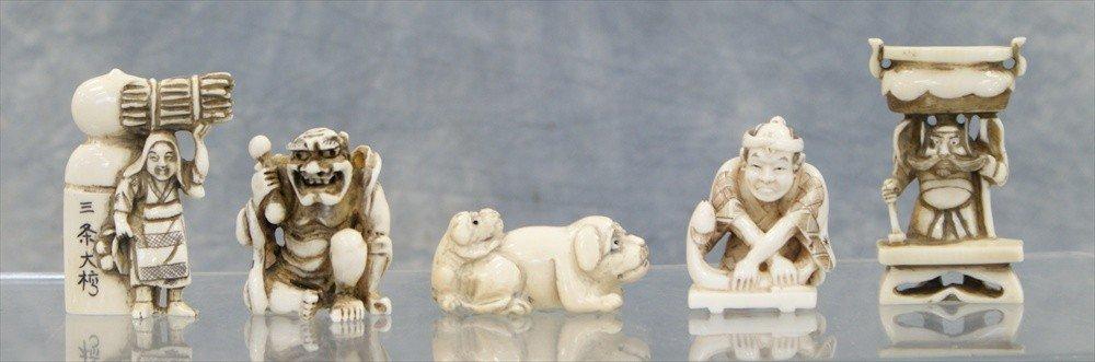 10024: (5) Assorted Japanese carved ivory netsuke, 20th