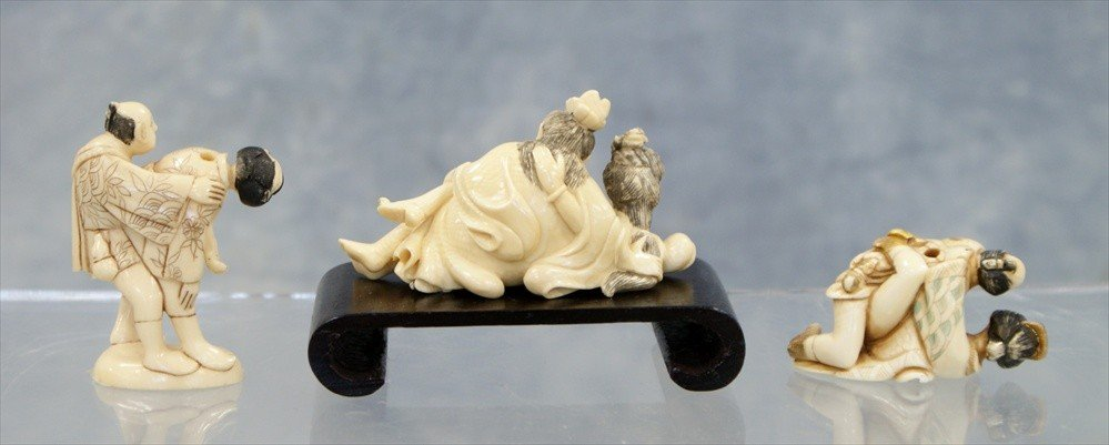 10032: (3) Pieces of Japanese carved ivory c/o 2 erotic - 2