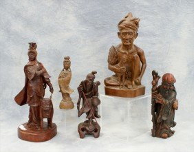 (5) Assorted Asian Carvings, 20th C, Tallest 14""
