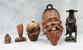 10085: (5) Assorted horn & wood pieces, c/o burl vase,