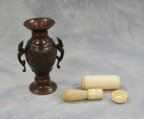 Small Japanese Bronze Vase With An Ivory Shaving