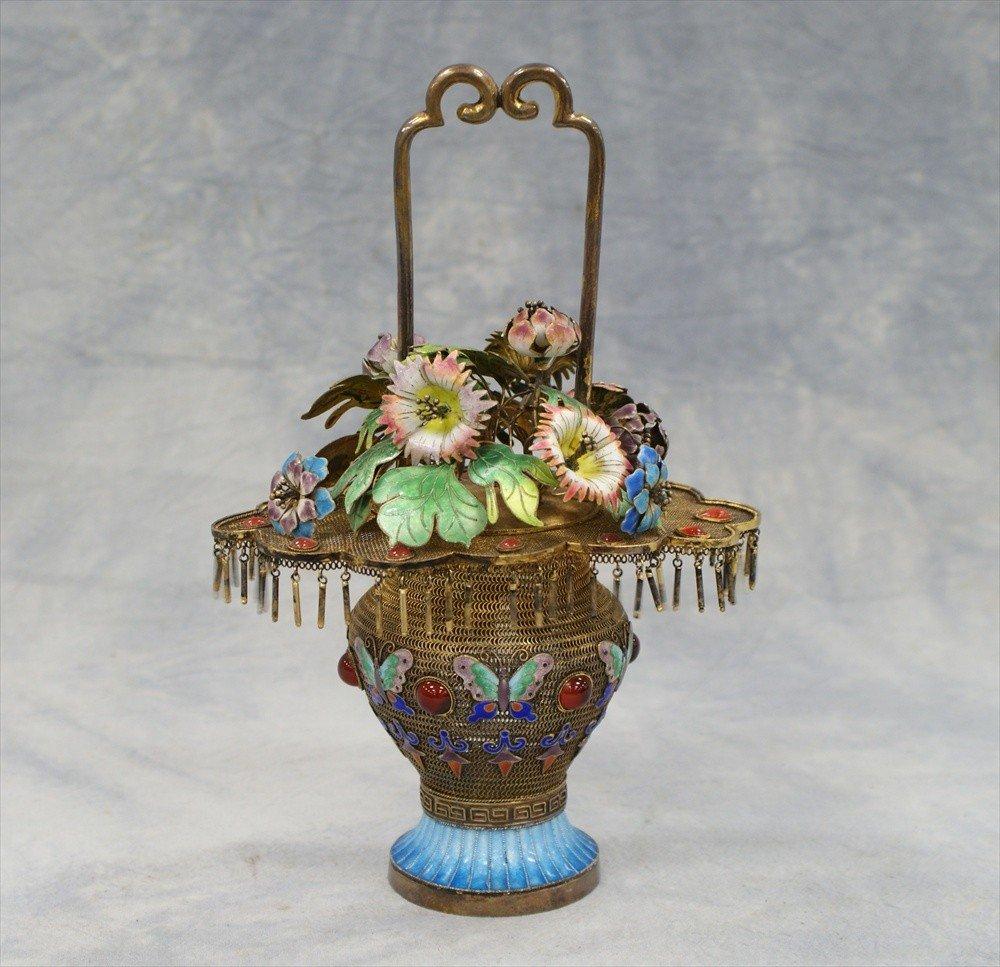 10098: Chinese unmarked silver & gilt & enamel flower b