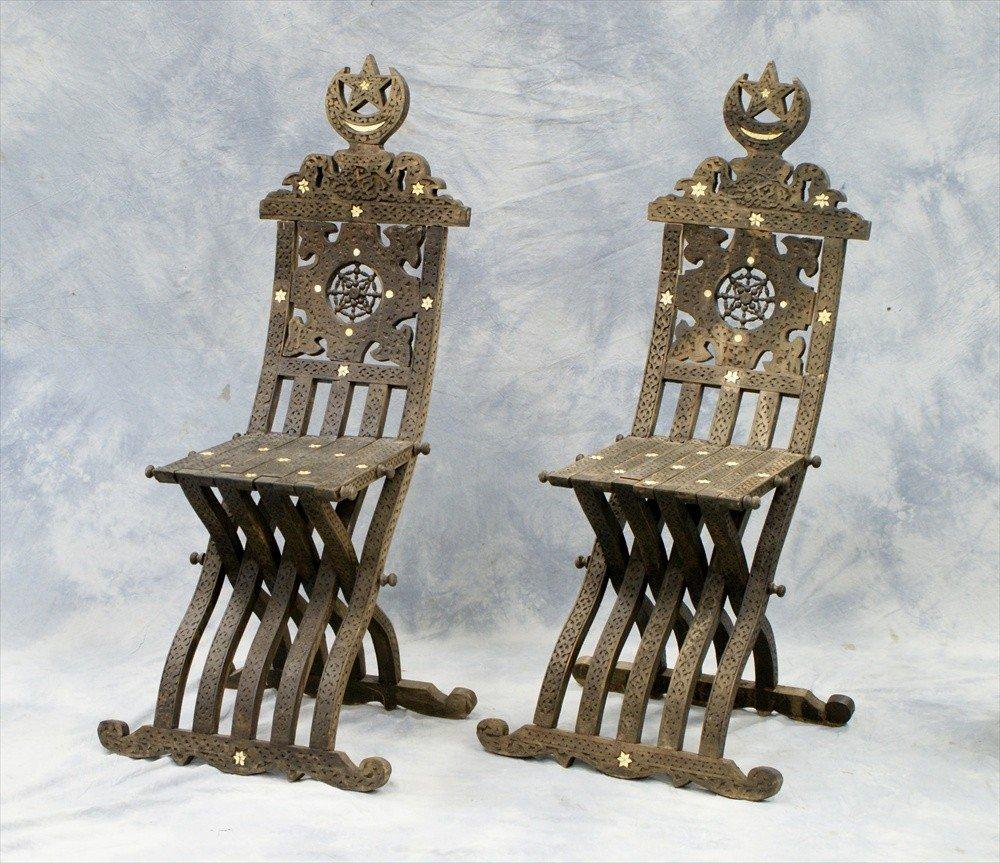 10101: Pair of Turkish inlaid folding chairs, 19th C, 4