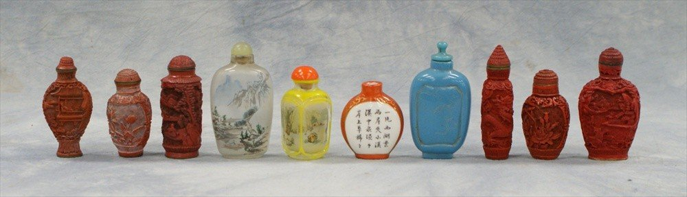 10108: (10) Chinese snuff bottles, c/o 6 cinnabar, 2 in