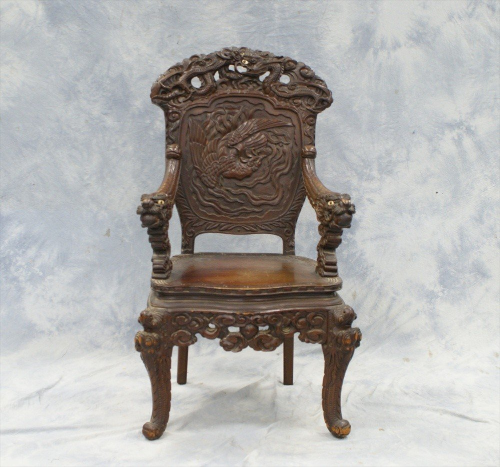 10113: Japanese carved wood armchair with phoenix back