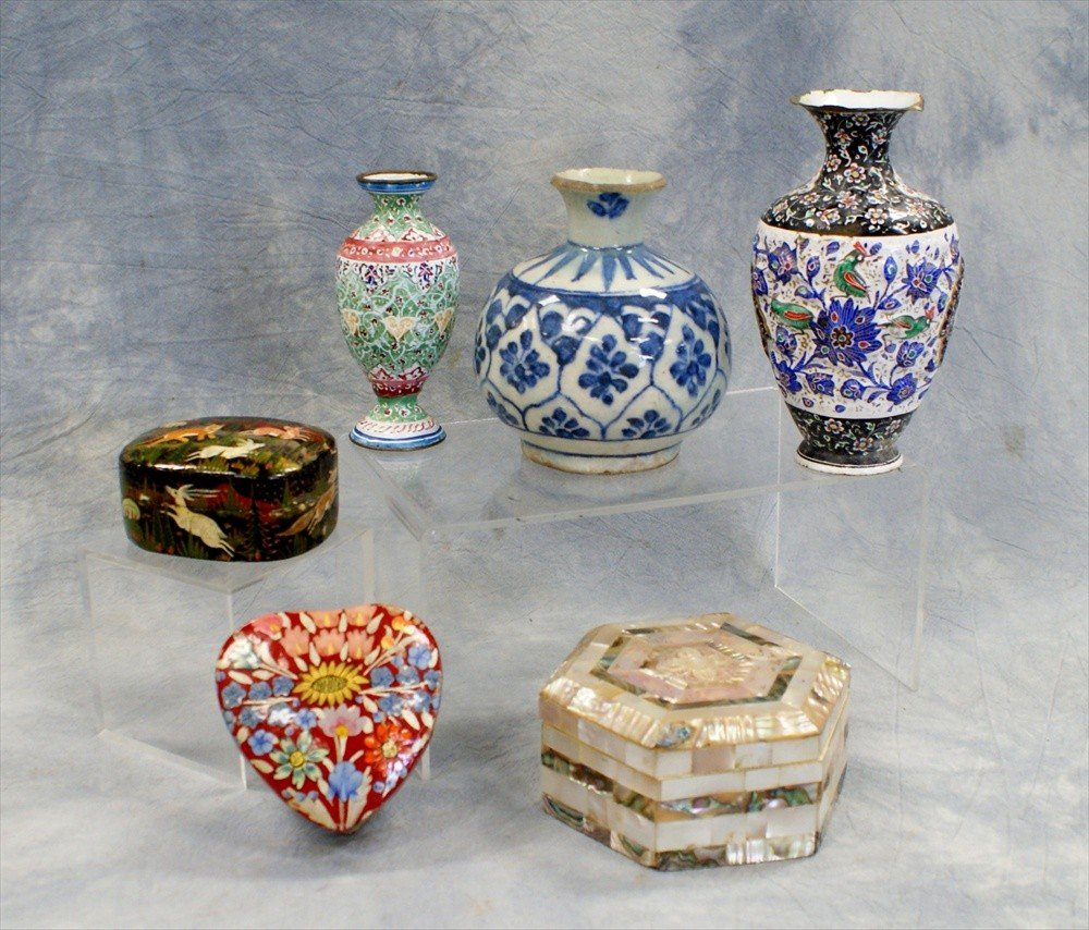 10118: (6) Assorted Indian and Persian items, c/o 2 Per