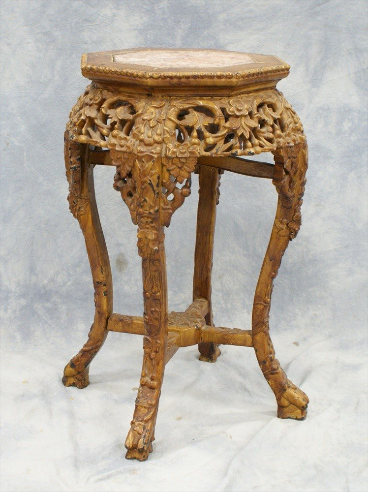 10119: Chinese carved wood marble top tabouret, repaint