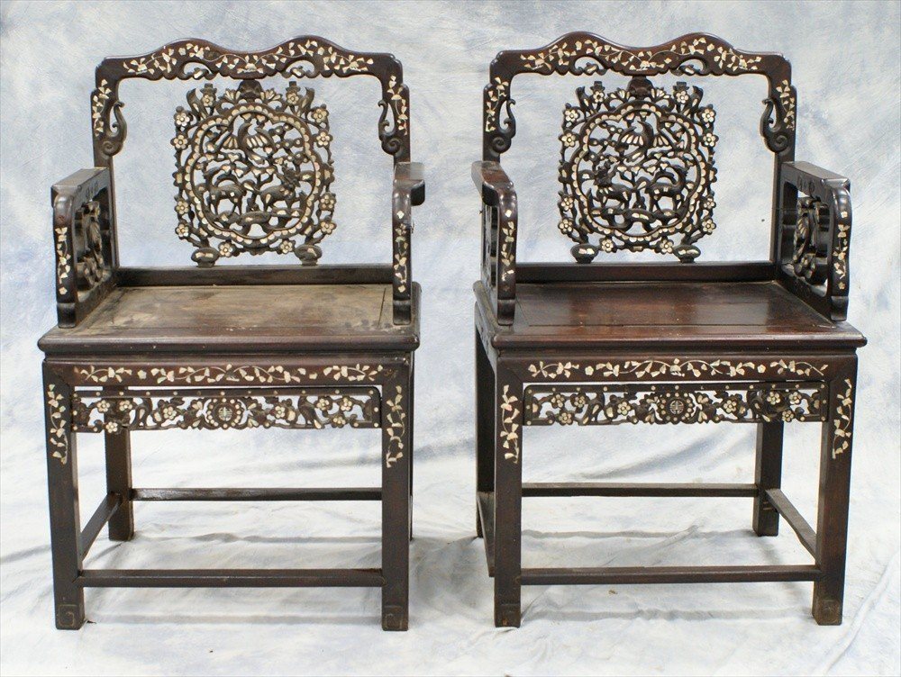 10128: (2) Chinese MOP carved and inlaid Mandarin chair