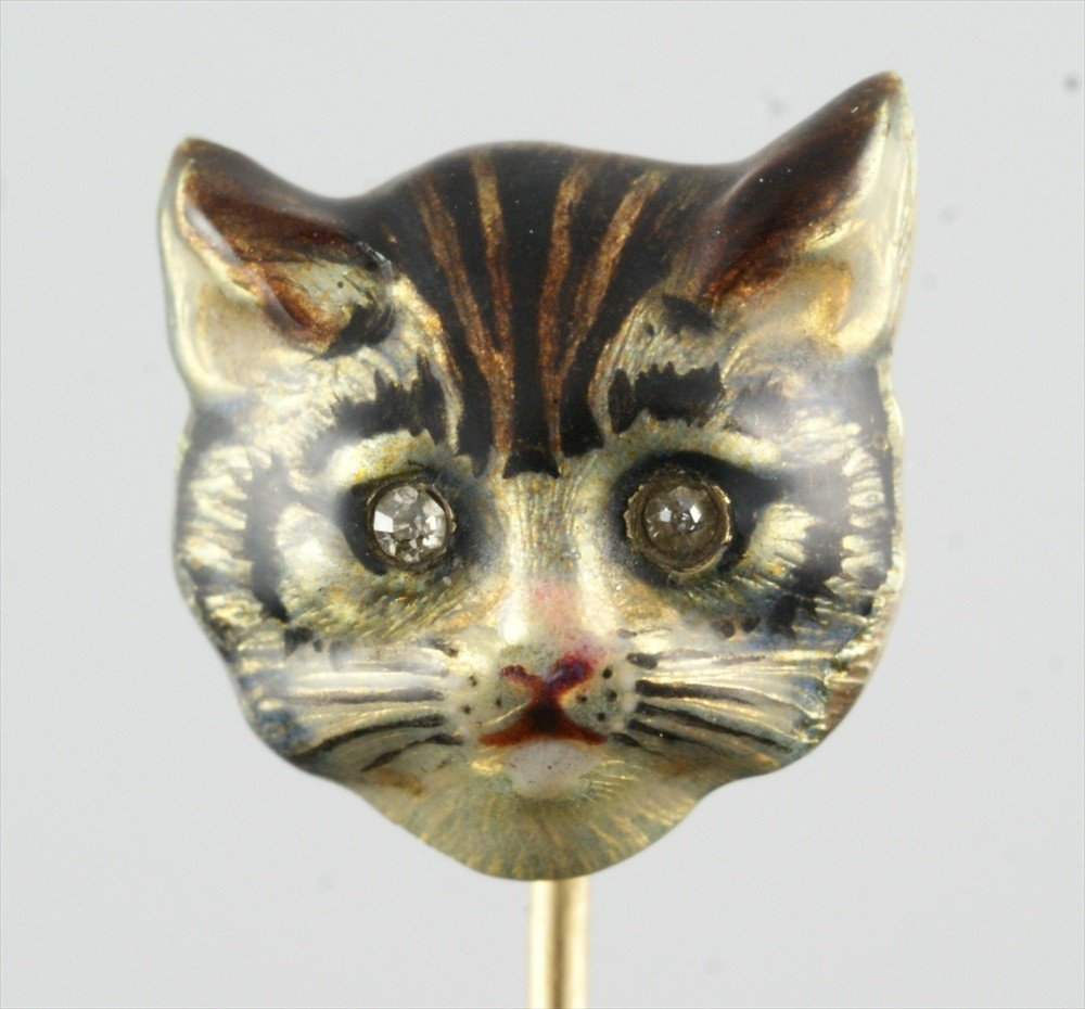 10004: 14K YG stickpin, cats head with single cut diamo