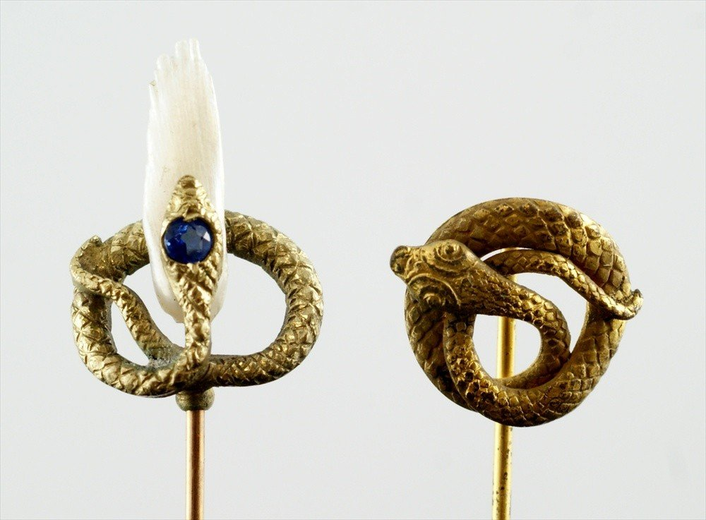 10007: (2) YGF stickpins, coiled serpents