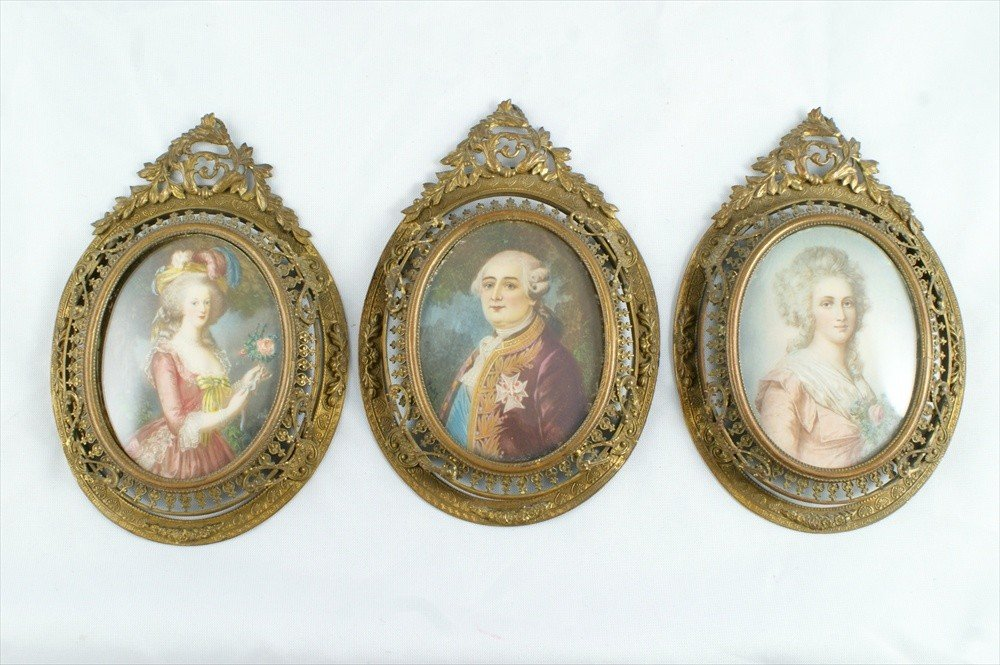 11175: (3) miniature portraits on ivory, Louis XVI and