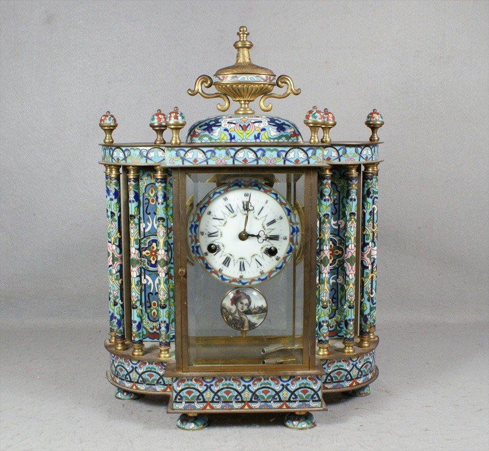11302: Chinese Blue Cloisonné Clock, 4 columns on each