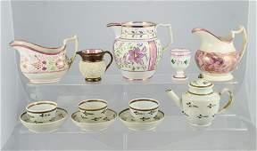 11389: 7 pc English pearlware teaset c/o teapot (repair