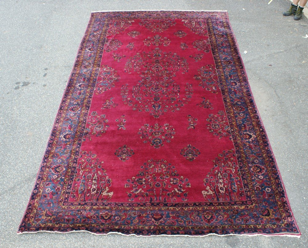 """11006: 9'10"""" x 17' red Persian carpet, some wear"""