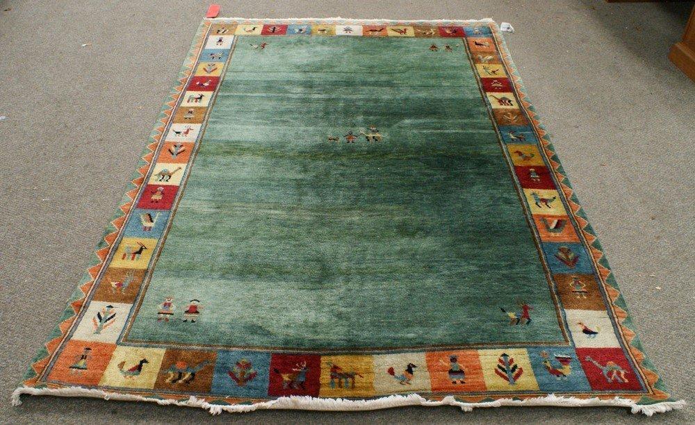 """11022: 6'2"""" x 8'10"""" green field, figural border contemp"""