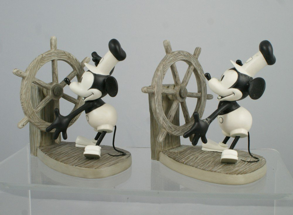 1008: (2) Mickey's Debut Steamboat Willie figurines, 1