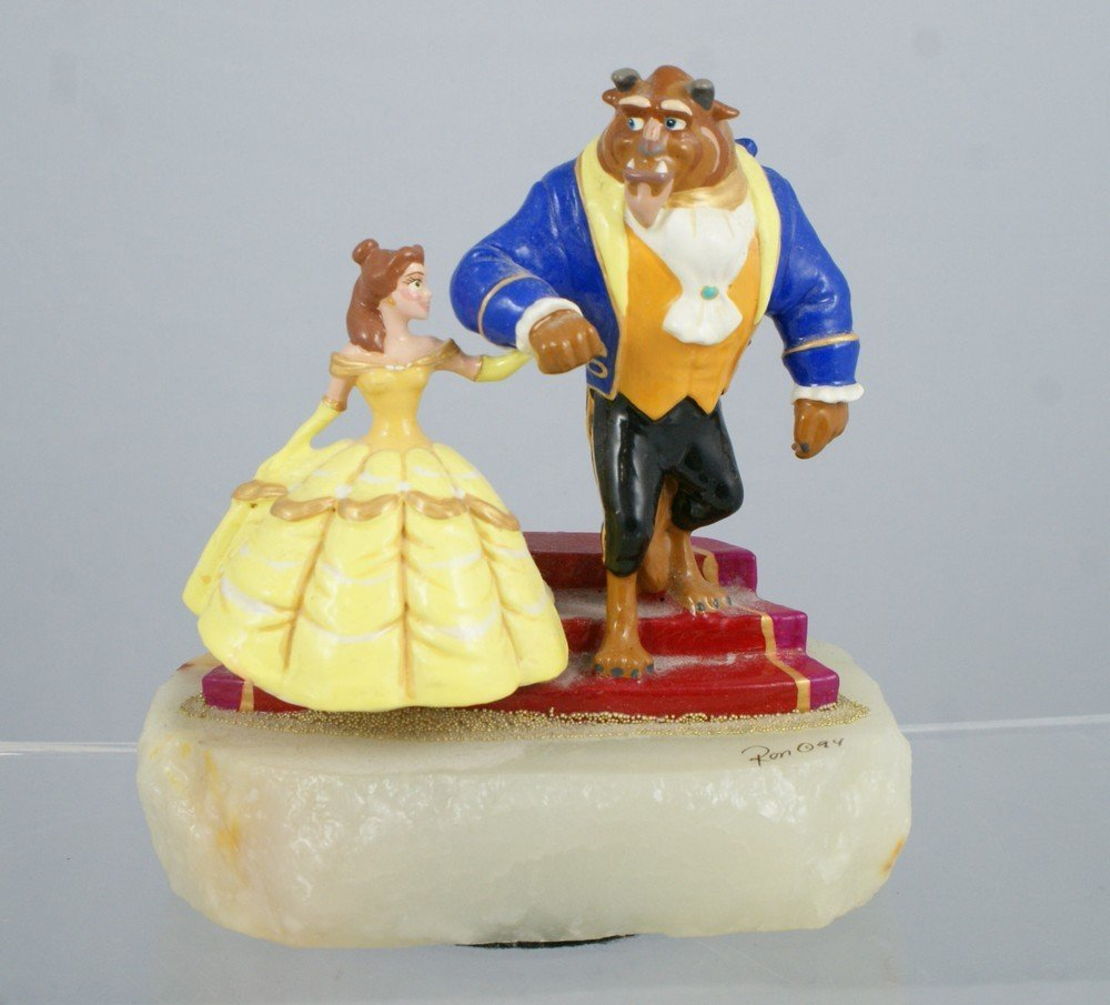 1045: Beauty and the Beast, Ron Lee Sculpture, signed R