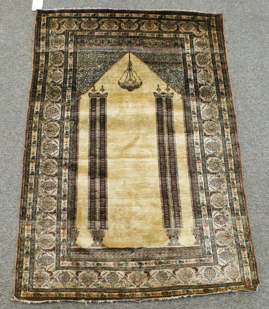 "2023: Tabriz silk prayer rug, 47"" x 69"", fringe and sel"