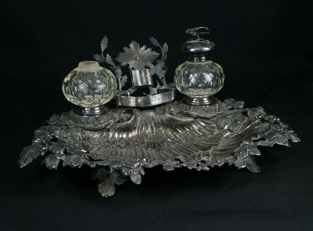 2027: Continental plated silver inkstand, with inscript