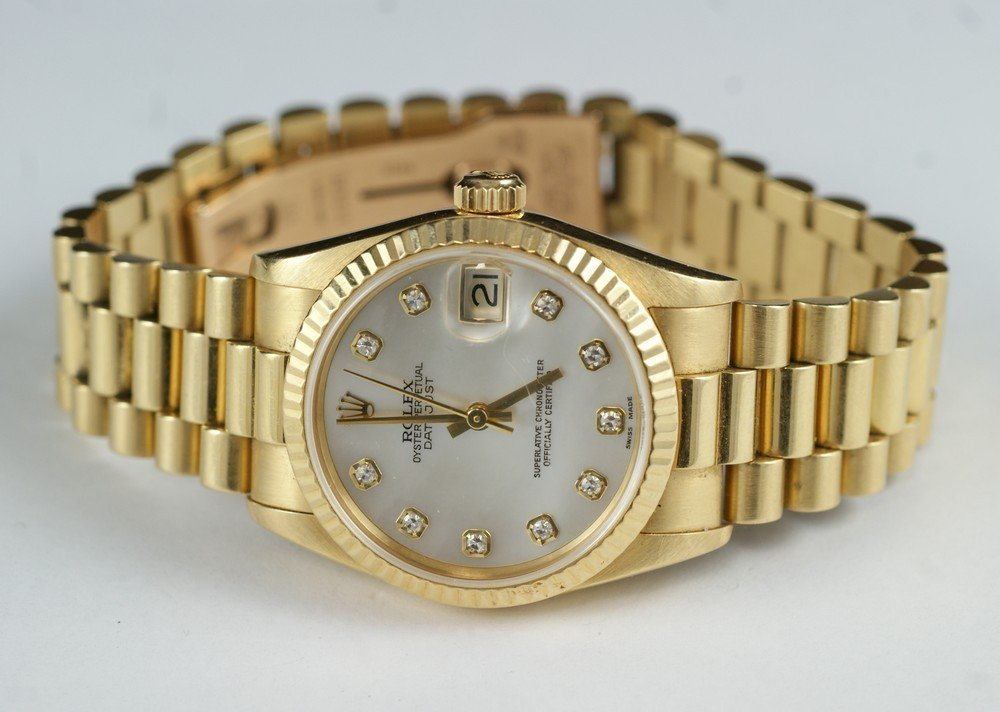 2099: 18K YG Rolex oyster perpetual ladies wrist watch,