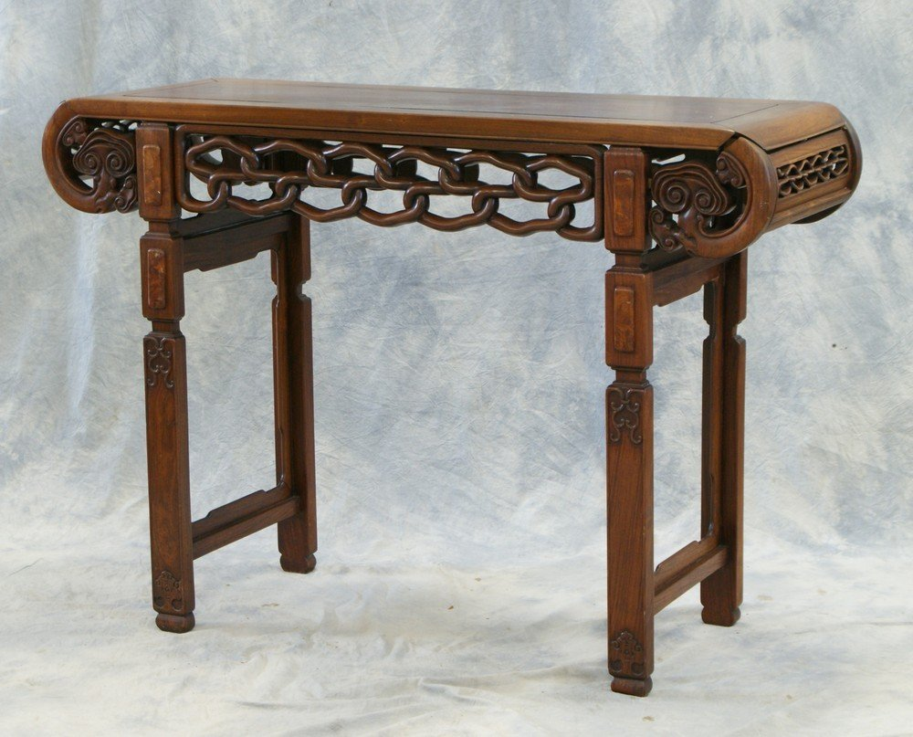 2140: Carved Rosewood Chinese Altar Table, one end sepe