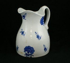 English Ironstone Pitcher With Blue Floral Transf