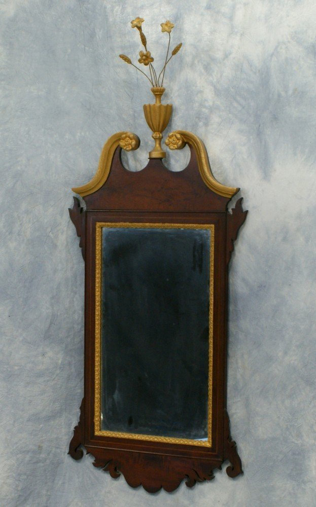 2179: Inlaid mahogany Federal style wall mirror with gi