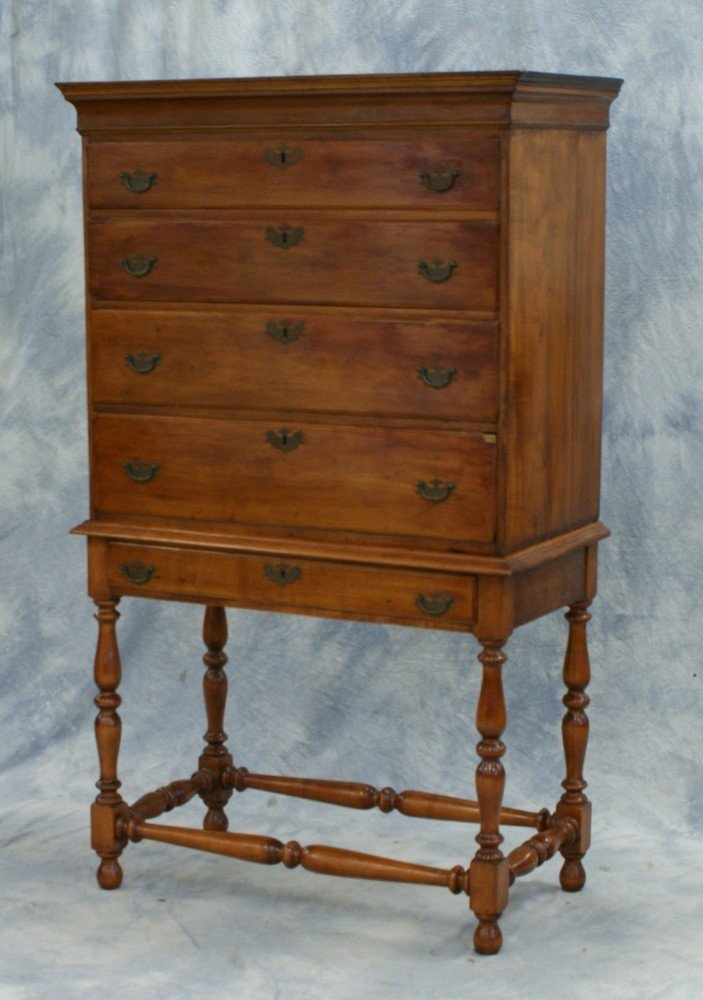 2191: New England Cherry William and Mary Highboy, top