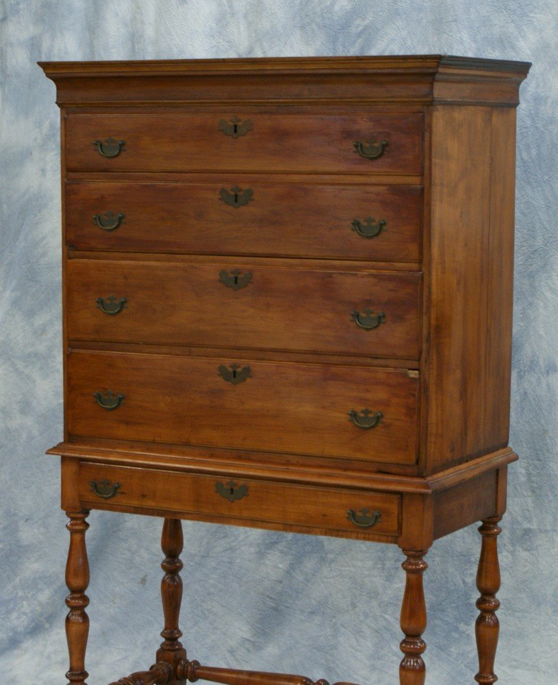 2191: New England Cherry William and Mary Highboy, top  - 2