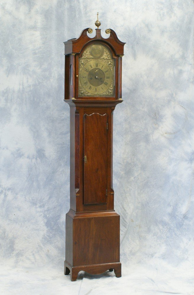 2233: George III Scottish mahogany brass dial tall case