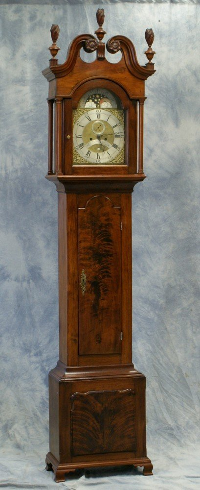 2236: Walnut Chippendale Brass style tall case clock by